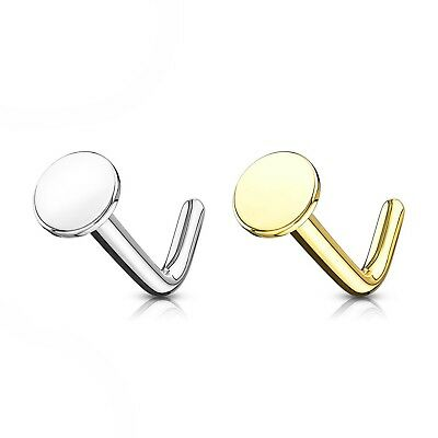 """20G 1//4/"""" 14KT GOLD PIERCING JEWELRY 2mm PRONG SET CZ NOSE RING STUD L-SHAPE"""
