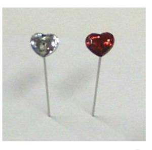 Pernos de Cabeza de diamante claro y rojo amor corazón cabeza Pines 10MM cabeza longitud 5//6CM