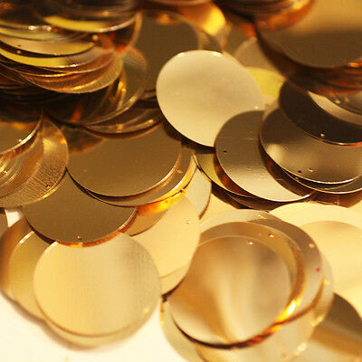 30mm ROUND SEQUIN PAILLETTES ~  GOLD Metallic ~ Flat Sequin Disc Made in USA
