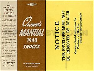 1940 Chevy Pickup Et Camion Manuel Du Propriétaire Avec Enveloppe 40 Chevrolet Uz4hftnp-07215624-900154025