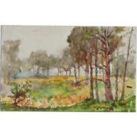 Original 1916 Miniature Berkshire Woodland Landscape Watercolour Painting Cooper
