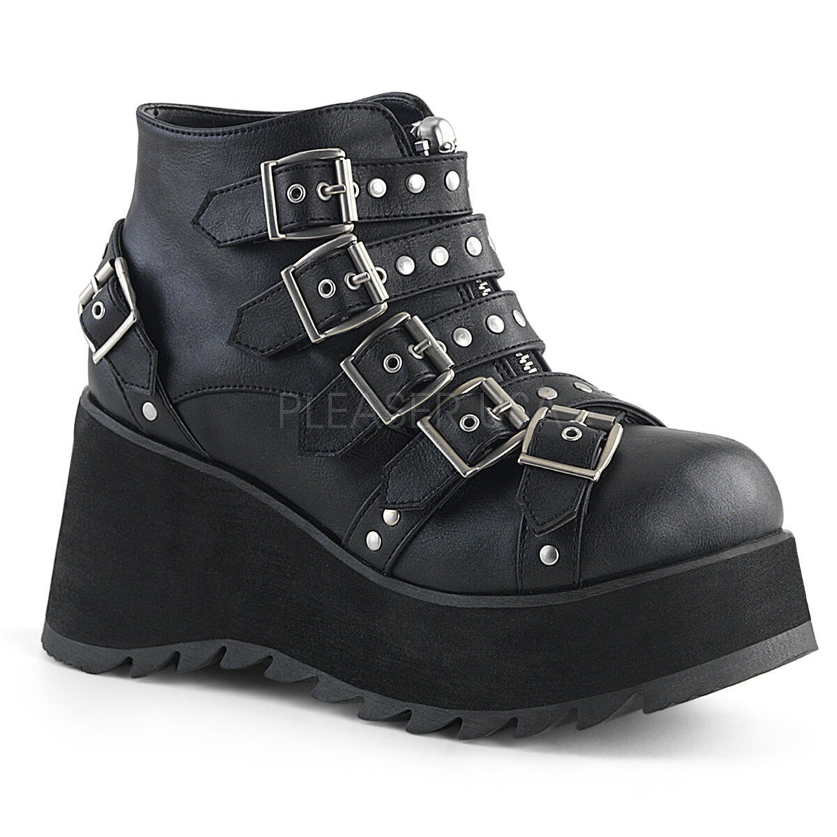 SCENE-30 BIKER COMBAT RAVE MULTI STUDDED STRAPS LIGHTWEIGHT WEDGE PLATFORM BOOT