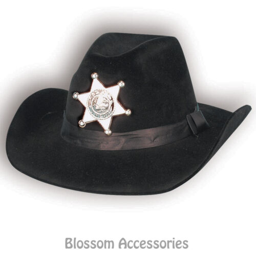 A431 Cowboy Cowgirl Flocked Black Hat Western Sheriff Rodeo Costume Accesory
