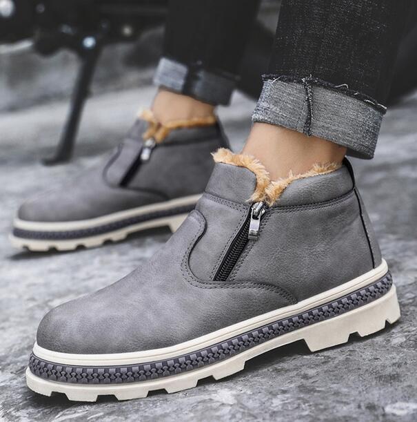 Mens Round Toe Platform Warm Fur Lined Zipper Cotton shoes Ankle Boots Casual