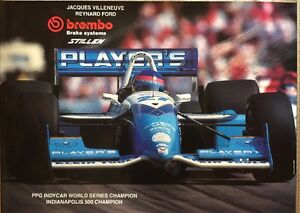 Vintage-TEAM-PLAYERS-1995-INDYCAR-Champion-Villeneuve-Brembo-stillen-poster-RARE