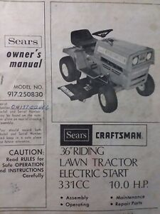 Sears Craftsman 10 Hp Lawn Tractor Amp 36 Quot Mower Owner