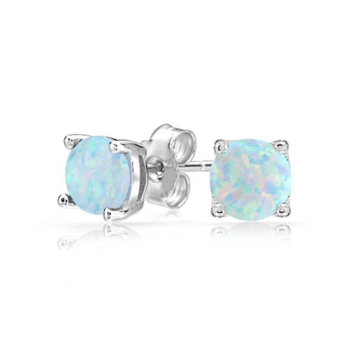 Earrings 14k white gold oval Opal with blue sapphires and diamonds dangle