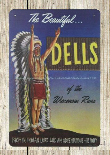 Wisconsin Dells 1950/'s Travel metal tin sign exterior plaques
