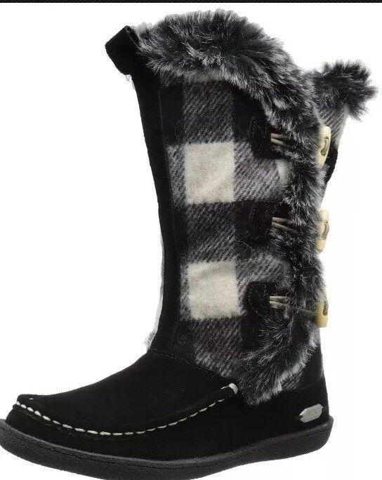 Woolrich Womens Sz 7 Elk Creek Boots Black White Buffalo Plaid Winter Fur Wool