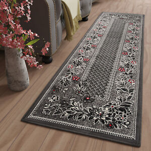Hallway Runner Dark Grey Floral Pattern Long Hall Carpet