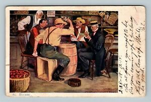Playing Euchre In General Store, Vintage c1909 Postcard