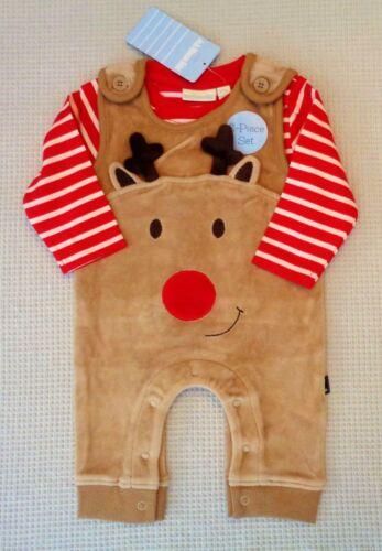 BNWT JoJo Maman Bebe Baby Boy Rudolph Reindeer Xmas Dungarees /& Top Set 0-3month