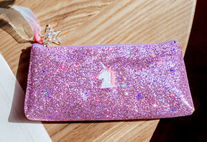 HORSE-amp-WESTERN-GIFTS-SPARKLING-PINK-UNICORN-PENCIL-CASE-or-MAKE-UP-CASE