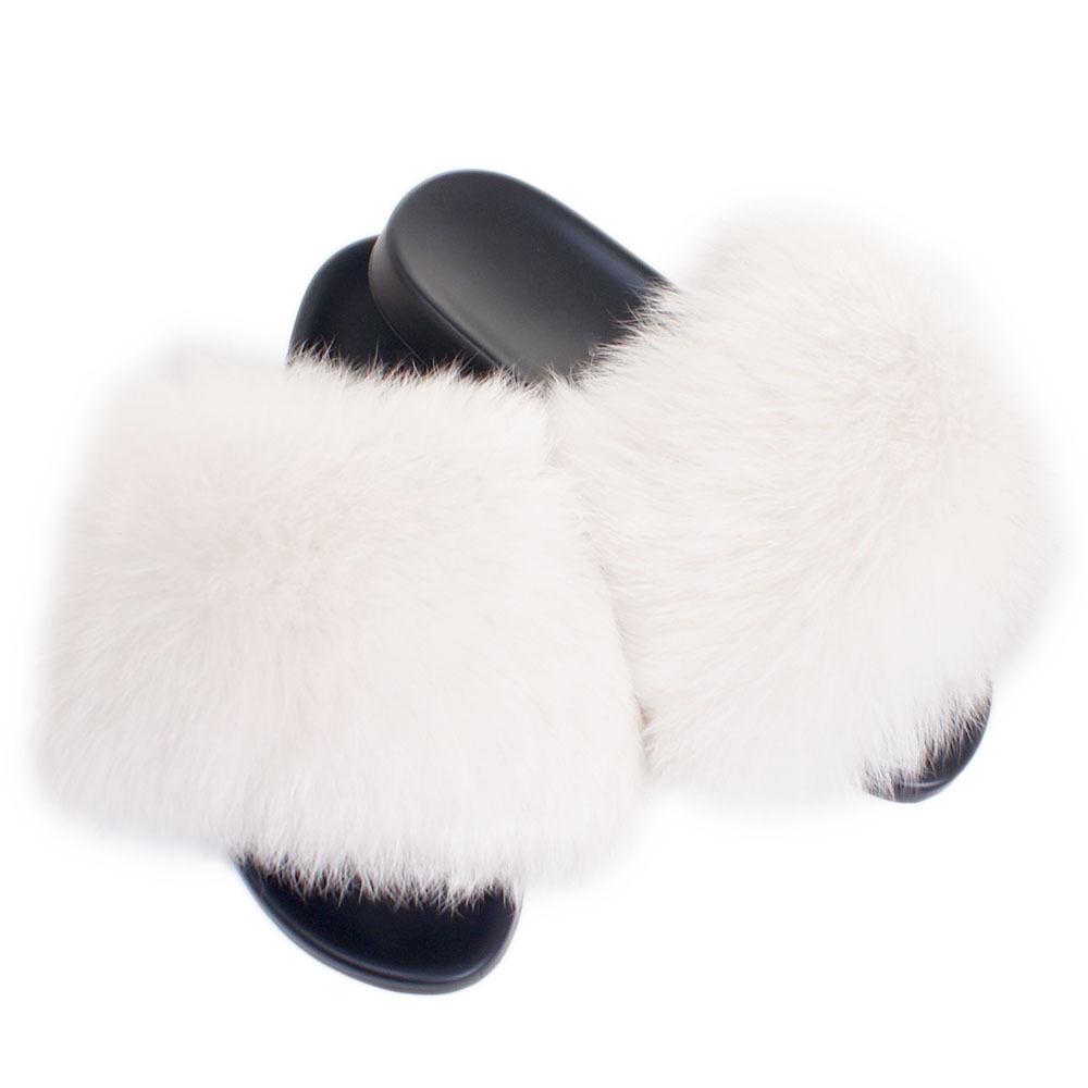Fell Schlappen Latschen Pelz Pantoffeln mit Weiß Fuchs NEU  Schlappen Fell Sandalen mit Pelz c3403d