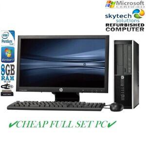 Complet-Dell-HP-Dual-Core-Ordinateur-De-Bureau-Tour-Pc-amp-TFT-Cheap-Ordinateur-WINDOWS-7-8-Go-1-To