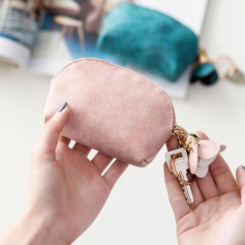 Mignon Femmes PU Cuir Mini Portefeuille Porte-clés Zip Coin Bourse Sac Cadeau