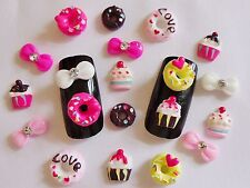 "20 pieces x ""Do-Nuts, Cupcakes & Bows"" 3D Nail Art Kawaii Decoration Crafts"