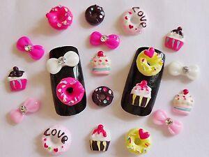 20 Pieces X Do Nuts Cupcakes Bows 3d Nail Art Kawaii Decoration
