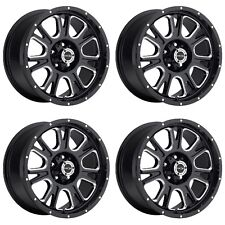 "Set 4 17"" Vision 399 Fury Black Milled Rims 17x8.5 8x180mm 18mm Chevy GMC 8 Lug"