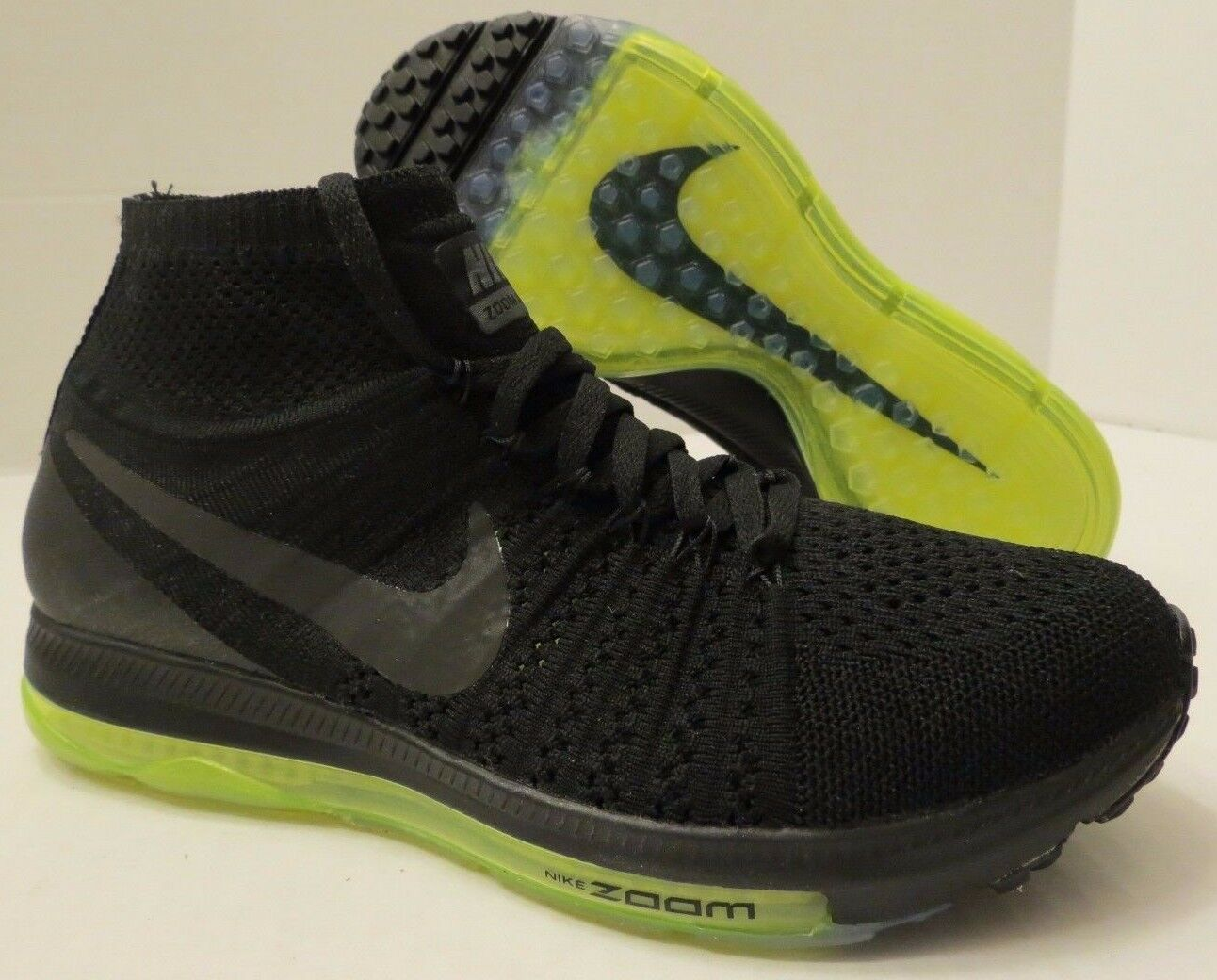 NIKE WMNS ZOOM ALL OUT FLYKNIT 845361 001 BLACK - VOLT (WOMEN'S 8.5) NIKELAB LAB