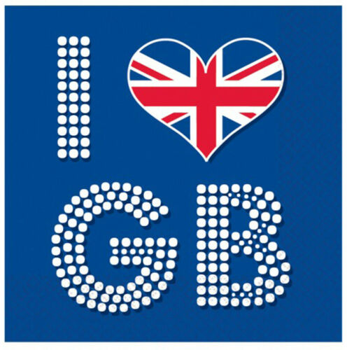 16 I Love Great Britain Union Jack Serviettes GB Papier Serviettes célébrer la Grande-Bretagne