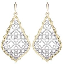 Kendra Scott Addie Teardrop Dangle Earrings Gold Plated Rhodium Plated Filigree