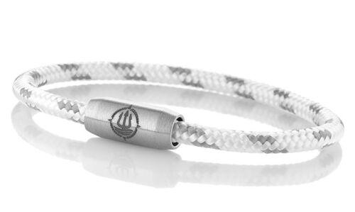 "Marinera /_ maritimes segeltau pulsera /""Rügen/"" blanco-gris 4mm"