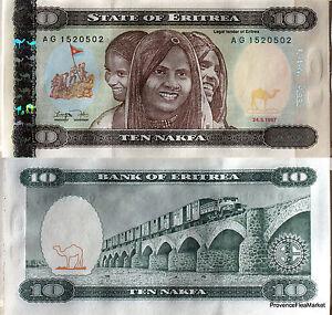 Other African Paper Money Coins & Paper Money Liberal Eritrea Ticket New Of 10 Nafka Eritrea Bridge Train Pick 3 De1997 Eritrea Durable Service