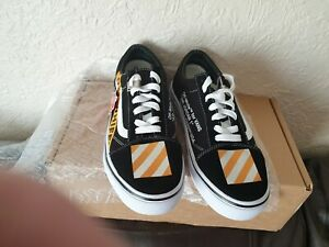 vans-off-the-wall-custom-size-uk-7-5-black-white-yellow-3-laces