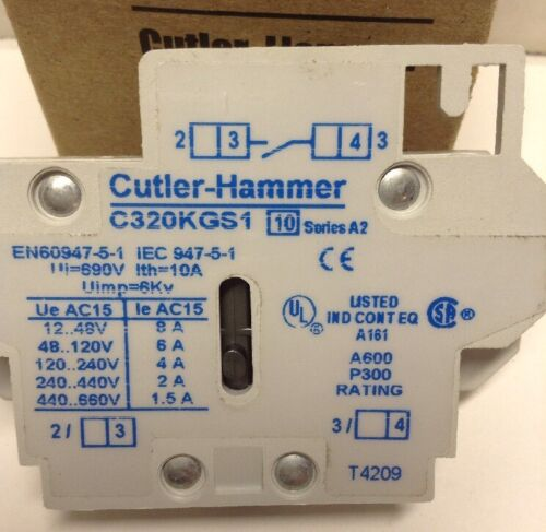Cutler-Hammer C320KGS1 Series A2 Side Mount Auxiliary Contact