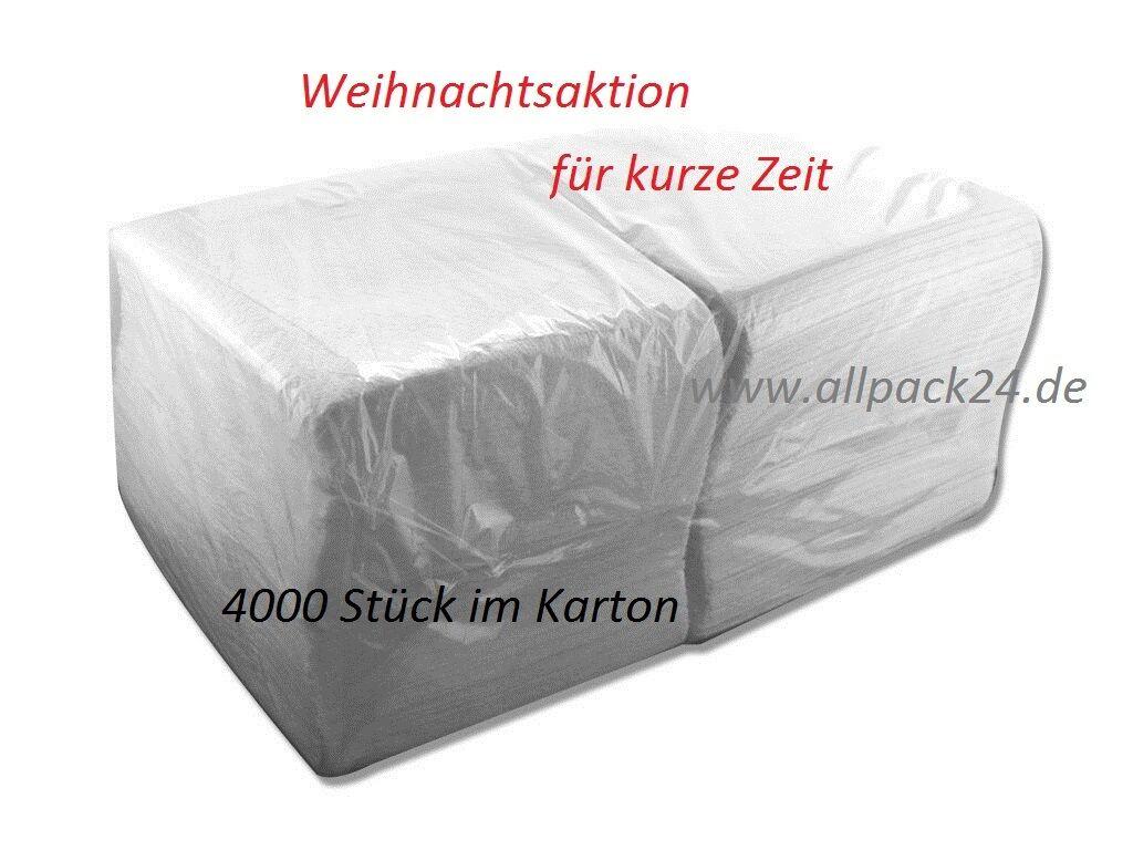 allpack24 Prägeservietten Imbiss-Servietten weiß,1lagig ca.2400,33x33cm 1//4Falz