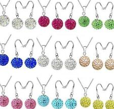 20set/lot 10mm mixed hot chain crystal shamballa set earring necklace pendant