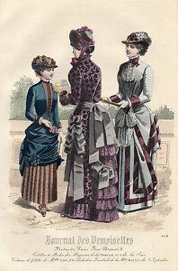 """Ambitieux 124/ Gravure De Mode """" Journal Des Demoiselles """" 1883 Superbes Couleurs ! Produits De Qualité Selon La Qualité"""