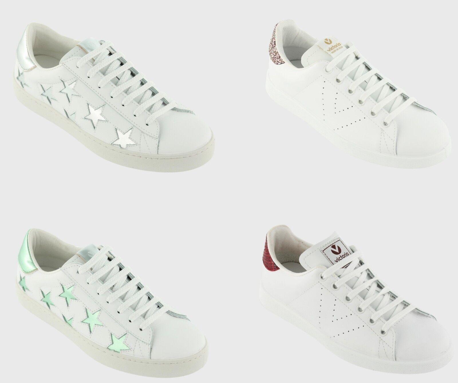 NEW Victoria Wouomo Leather Glitter Lace Up Tennis scarpe Casual scarpe da ginnastica bianca
