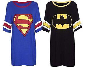 Womens-Ladies-Comic-Converse-Superman-Batman-Varsity-Baggy-Long-T-Shirt-Top-8-14