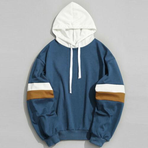 Mens Fashion Casual Patchwork Slim Fit Hoodie Outwear Blouse Sweatshirt US