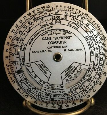 Aviation Computer Kane Aero Dead Reckoning Flight Skyking 1957 & Leather Case