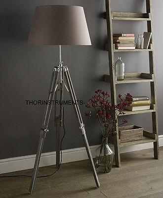 CLASSIC Tripod Vintage Shade Chrome/Gray floor Lamp