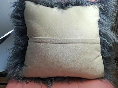 Real Mongolian Tibetan Lamb Fur Pillowcase Cushion Cover Gray Luxurious 40x40cm
