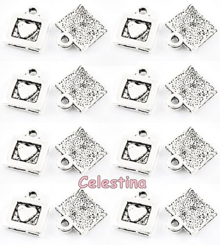 40 Antique Silver Heart Charms Love Hearts Squares 12mm NF LF Valentines