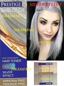 GREY HAIR SILVER EFFECT TONER, DYE BLOND HAIR 100 ml. NO ...