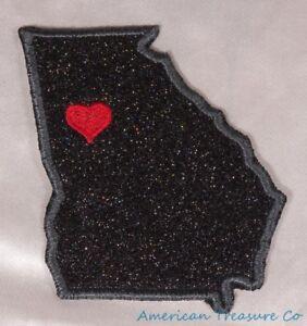 Embroidered-Black-Glitter-Sparkle-Georgia-GA-Love-State-Patch-Iron-On-Sew-On-USA