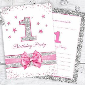 Details About 1st Birthday Invites Pink First Birthday Party Invitations Faux Glitter Pk10