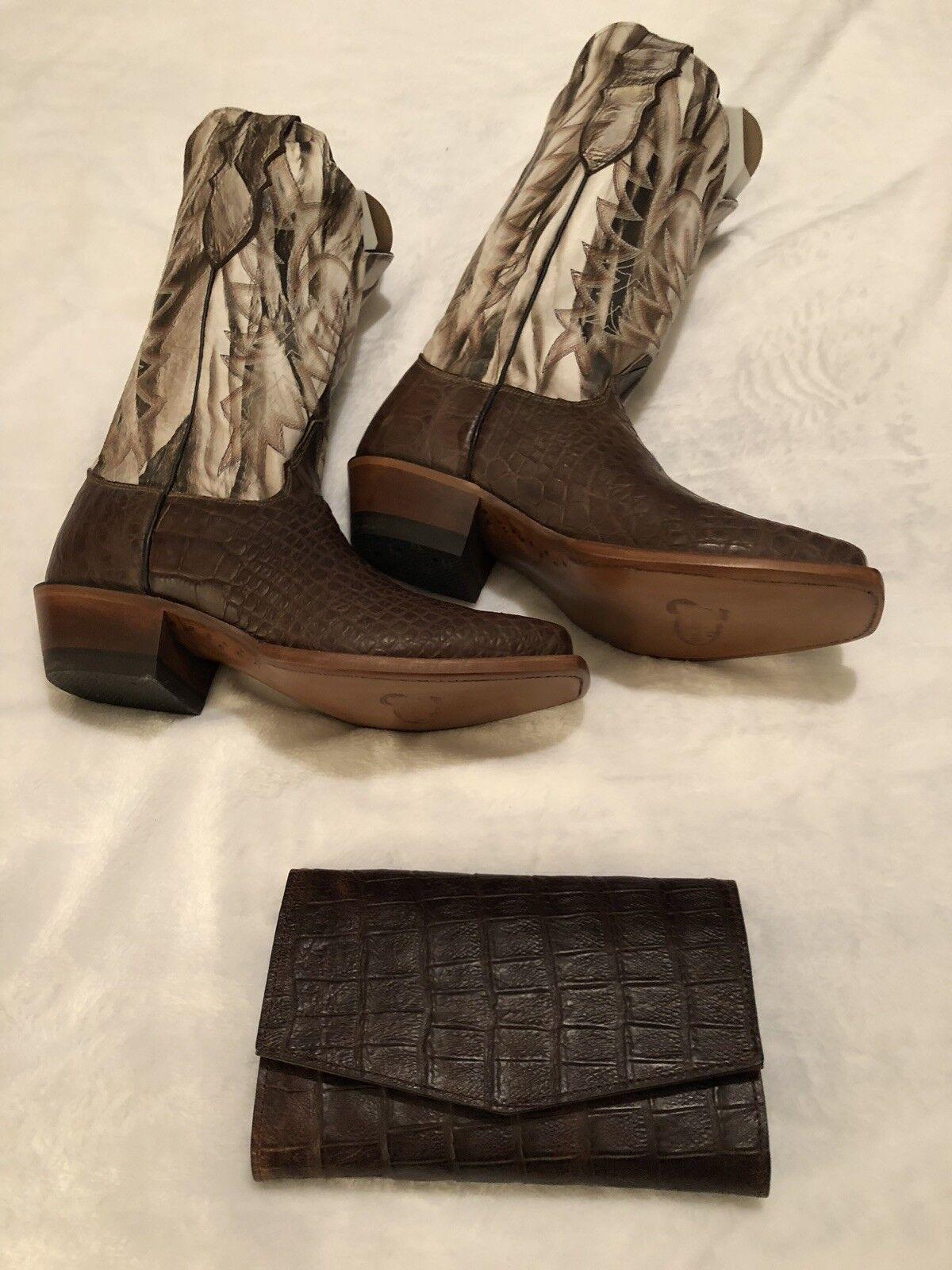 Nuevo para mujer botas de cocodrilo hecho hecho hecho a mano de chocolate cerosadodo con bolso a juego  últimos estilos