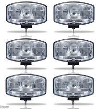 "6x 24v 9.5"" Jumbo Oval Black ABS Spot Lamp + LED Scania Volvo DAF MAN Truck"