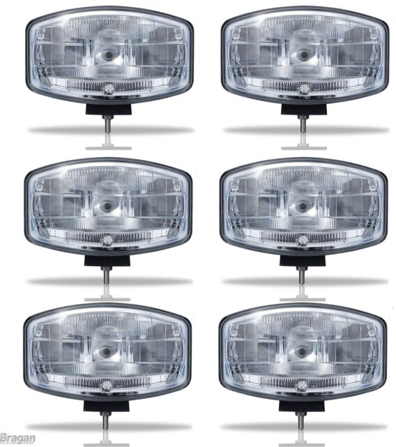 """To Fit Scania Volvo DAF MAN 24v 9.5"""" Jumbo Oval Black ABS Spot Lamp + LED x6"""