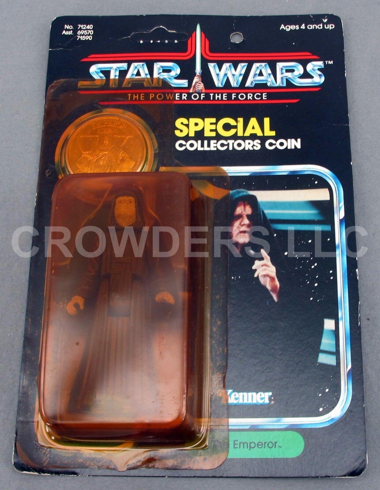 Star Wars Potf el emperador con moneda especial de coleccionista ENLOMADOR tarjeta Kenner'84