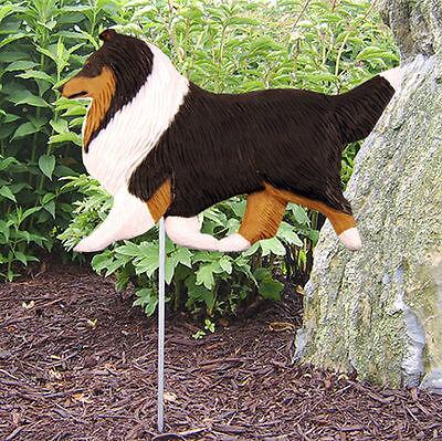 Shetland Sheepdog Outdoor Garden Dog Sign Hand Painted Figure Tri