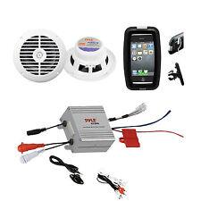 New Marine Outdoor Boat ATV Bike White Speakers, 2 Channel iPod Input Amplifier
