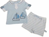 Baby Boys Blue Summer Sailing Ship 2 Piece T-shirt And Shorts Set Clothes